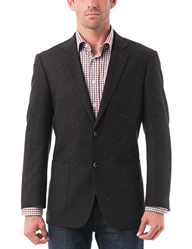 Classic Wool Blazer - Chama Men's Two Buttons Navy Blue & Black &Light Grey Wool Blend Classic Fit Casual Sports Coat Blazer Jacket with Notch Lapel (Black, 52R)