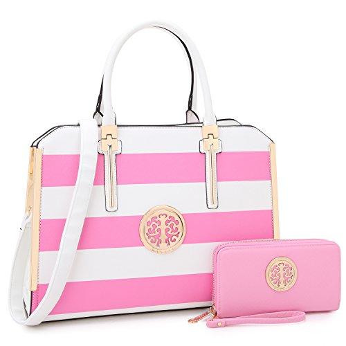 - Dasein Women Large Handbag Purse Vegan Leather Satchel Work Bag Shoulder Tote with Matching Wallet (Pink/White)