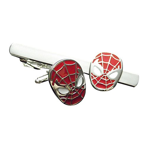 Welen Superman Superhero Stainless Steel Mens Tie Clips Clasp and Cufflinks Set (Red Spiderman)