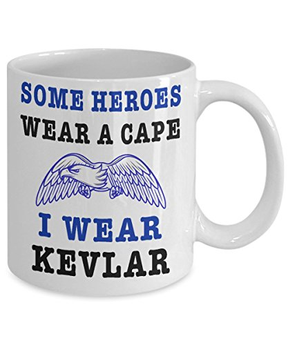 Police Coffee Mug - Funny Police Officer Gifts - 11oz & 15oz Ceramic Cup - Some Heroes Wear A Cape, I Wear Kevlar - First Responder PD