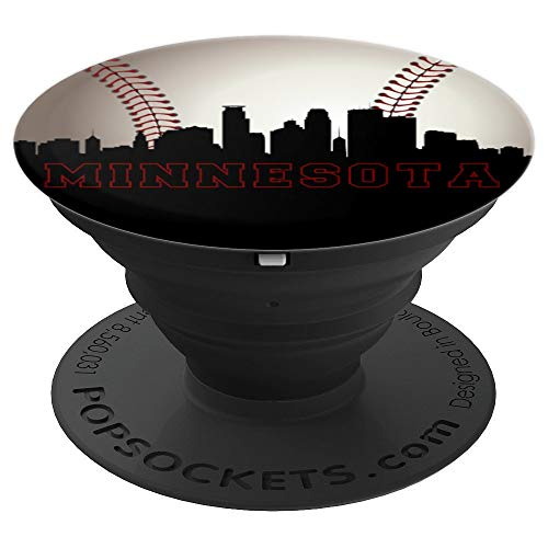 Downtown Minnesota Baseball Fan Minneapolis Skyline Art Gift - PopSockets Grip and Stand for Phones and Tablets (Downtown, Mn)