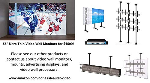 2x2 Rolling Video Wall Mount Cart Display with Micro Adjustment Arms Vesa Universal TV Television