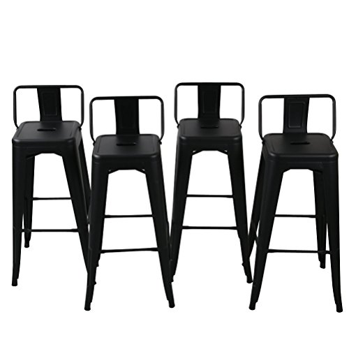Bar Black Antique Stools (Belleze 24 inch Low Back Indoor and Outdoor Chair Counter Height Stools Black (Set of 4))