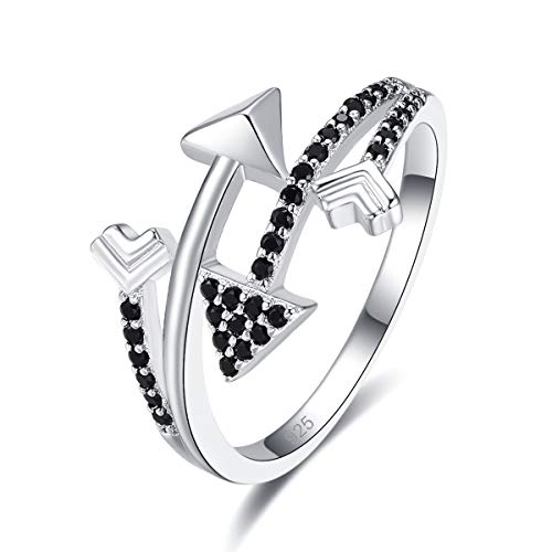 Narica Women's 925 Sterling Silver Filled Round Cut Black Spinel Rings for Girls Teens Size 8 ()