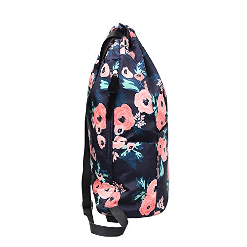 MORHUA Backpack Drawstring Bag Gymbag Drawstring Backpack Sports Travel Yoga Gymsack (Blue Wealth Flower) by MORHUA (Image #3)