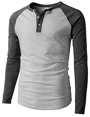 H2H Mens Casual Slim Fit Raglan Baseball Long Sleeve Henley T-Shirts CHARCOAL US M/Asia L - Long Sleeve Raglan Baseball