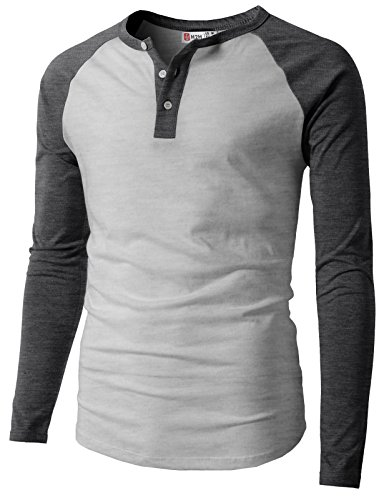 H2H Mens Casual Slim Fit Raglan Baseball Long Sleeve Sleeve Henley T-Shirts Charcoal US L/Asia XL (CMTTL077_CMTTL077)