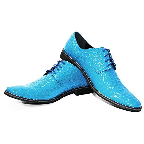 PeppeShoes Modello Blutiko - Handmade Italiano da Uomo in Pelle Blu Scarpe da Sera - Vacchetta Pelle in Rilievo - Allacciare