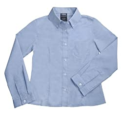 French Toast School Uniforms Long Sleeve Oxford Blouse with Darts Girls blue 6x