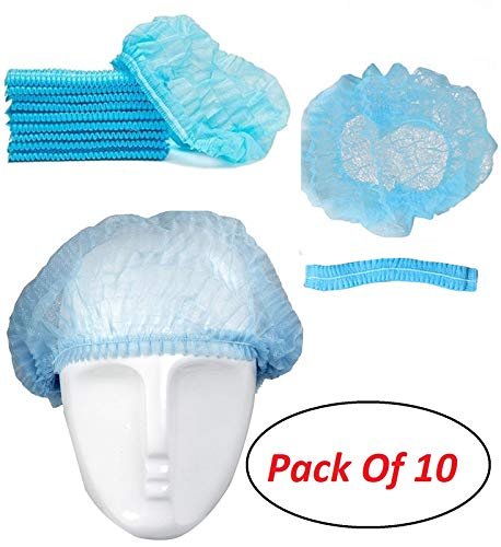 Envilean {Pack of 10} Disposable Non-Woven Anti Dust Caps Bouffant Hair Net Caps Hygienic Hair Head Cover Surgical Sterile Caps for Hospital Home for All Men & Women Price & Reviews
