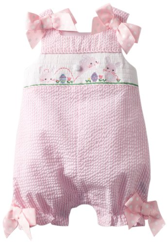 Easter Bunny Bubble - Mud Pie Baby-Girls Newborn Bunny Smocked Bubble, Pink, 6-9 Months