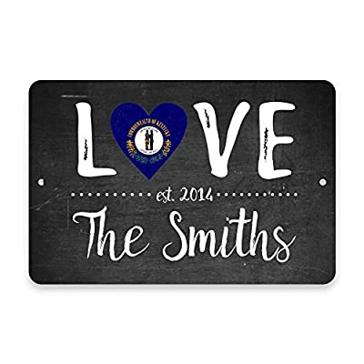 popeven Chalkboard Kentucky Love State Flag with Family Name Personalized Aluminum Metal Tin Sign Wall Art Decorative Door Sign 12 x 16 inches