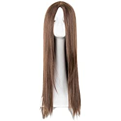 Synthetic Brown Wig Heat Resistant Fiber Middle Part Line Long Straight 26 Inches Hair Costume Cosplay Blonde Hairpiece 1B/30HL 26inches