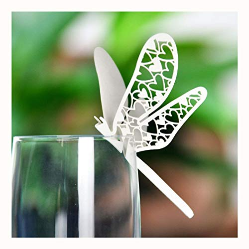 YUFENG Laser Cut Wine Glass Place Card Name Place Card Home Decorations For Wedding Birthday Party (120 pcs dragonfly ii Ivory)