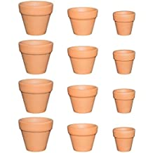 My Urban Crafts Small Mini Assorted Terracotta Clay Pots - 3 Different Sizes - Great For Baby Succulent Cuttings & Propagating, DIY Craft Projects, Wedding & Party Favors (12 Pcs Variety Pack)