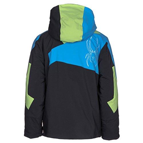 Spyder Kids Boy's Avenger Jacket (Big Kids) Black/Fresh/Fresh Blue 14 by Spyder (Image #2)