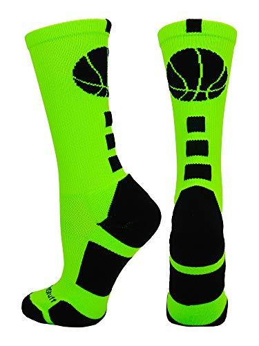 MadSportsStuff Basketball Logo Crew Socks (Neon Green/Black, X-Large)