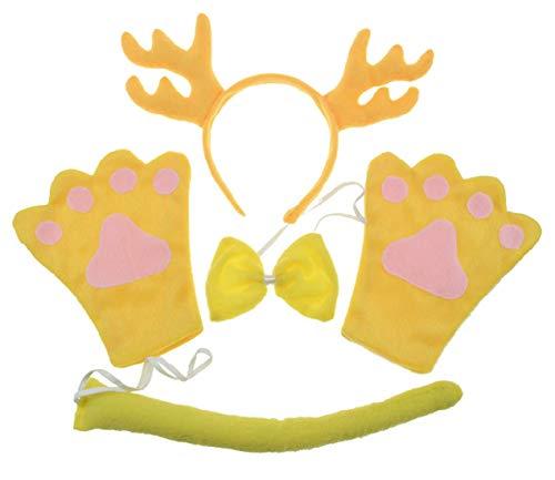 Deer 4pc Children Costume Kids Cosplay Headband Bowtie Tail Gloves]()
