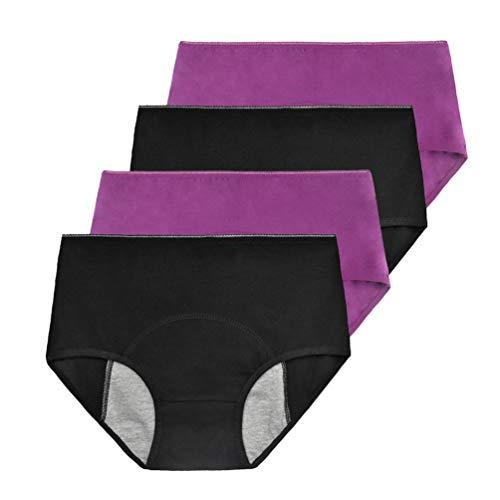 Phennies Womens Big Girls Menstrual Period Briefs Panties Teen Girls Leak Proof Underwear Pack of 4 Black & Purple Size Small