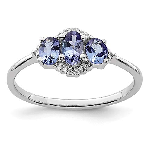 925 Sterling Silver Blue Tanzanite Diamond Band Ring Size 6.00 Stone Gemstone Fine Jewelry Gifts For Women For Her
