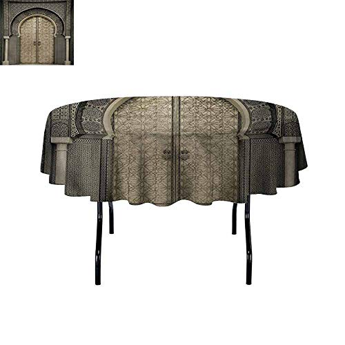 (Curioly Moroccan Iron-Free Anti-fouling Holiday Round Tablecloth Aged Gate Geometric Pattern Doorway Design Entrance Architectural Oriental Style Table Decoration D43.3 Inch Sepia Black)