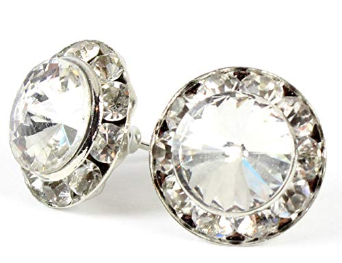 Studs Crystal Centers - Dance Competition STUD Earrings - 15mm Swarovski Crystal