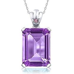 Purple Amethyst Pink Lab Grown Diamond Pendant