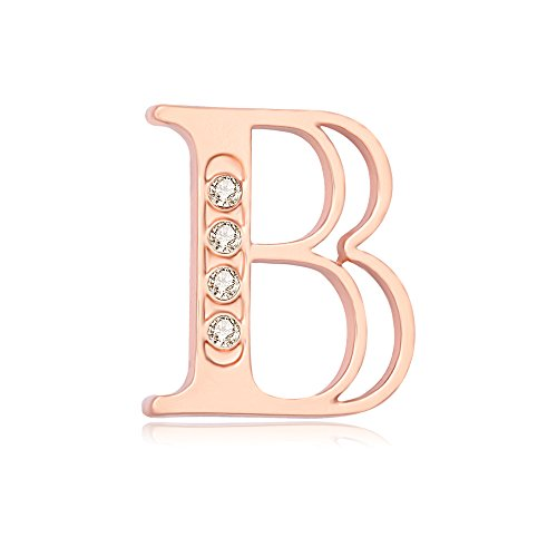 NOUMANDA Rose Gold Plated Fashion 26 Charm Initial Letters Brooch Crystal Pins Big brooches Letter C D K broches (B) -