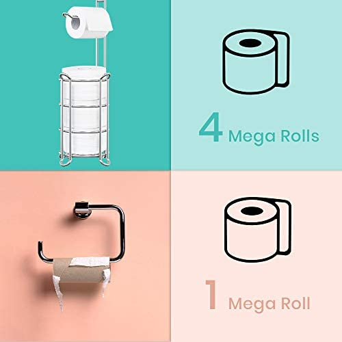 Toilet Paper Holder Stand Bathroom Toilet Tissue Roll Holder with Shelf Freestanding Storage Phone/ Wipe/ Mega Rolls-Shining Chrome