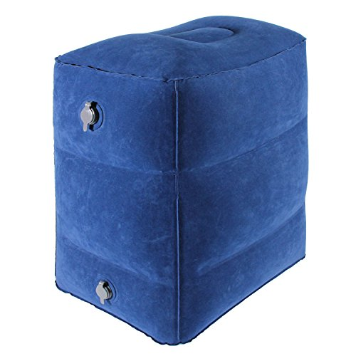 NPET Inflatable Travel Foot Rest Pillow, LP01 Leg Rest Pillow with Height-Adjustable & Double-Seal Air Valves, Kids Airplane Bed, Compatible with Home, Office, Airplane, Train, Car (Blue)