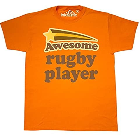 Inktastic - Rugby Player Vintage T-Shirt XXX-Large Safety Orange - 761 Rugby