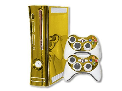 Microsoft Xbox 360 Skin (1st Gen) - NEW - GOLD CHROME MIRROR system skins faceplate decal mod ()