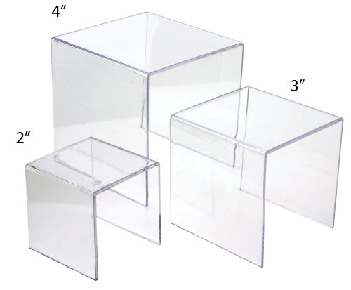 Set of 3 Square Clear Acrylic Small Risers - 2, 3, 4 Inches Tier Mirror Display