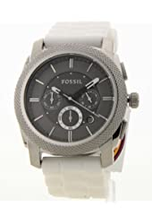 Fossil Men's White Silicone Chronograph Date Large Casual Watch Fs4553