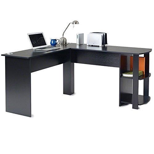 FCH L Shaped Desk Coner Computer Desk Wooden Home Office Desk with Shelves,Black