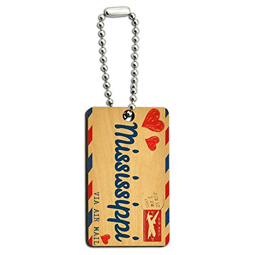 Air Mail Postcard Love for Mississippi Wood Wooden Rectangle Key Chain (Postcard Mississippi)