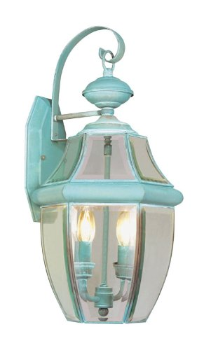 Livex Lighting 2251-06 Outdoor Wall Lantern with Clear Beveled Glass Shades, Verdigris (Wall Finish Verdigris)