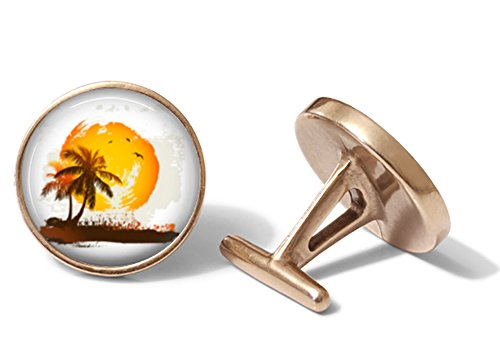 Vintage-Inspired Beach Cufflinks (Solid Bronze) (Cufflinks Solid Vintage)