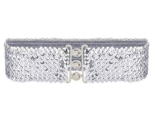 Anna-Kaci Women's Sparkly Glitter Sequin Wide Stretch Elastic Belt Accessory,Slive,One Size