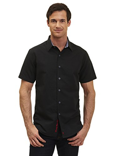 Robert Graham Briarwood Short Sleeve Black Classic Fit Woven Shirt Medium