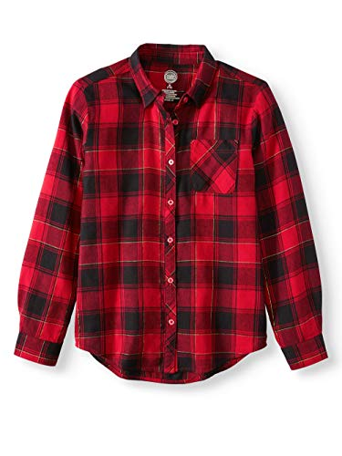 Girls Long Sleeve Button Down Plaid Flannel Shirt (Large (10/12), Red ()