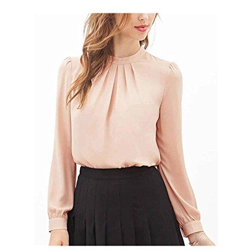 Anxinke Women Long Puff Sleeve Chiffon Shirts Blouse (XS, Light Pink) by Anxinke
