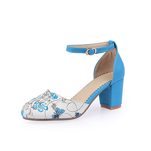 Womens Sandals Round Animal Toe Polyurethane 1TO9 Print Blue Buckle fw4C7xqp