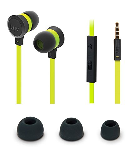 iLuv In-Ear High Performance Stereo Earphones with Mic for Hands Free-Call and Remote for iPhone, iPad, iPod, SAMSUNG, LG, Google Next, Others phones, tablets and MP3(Green)