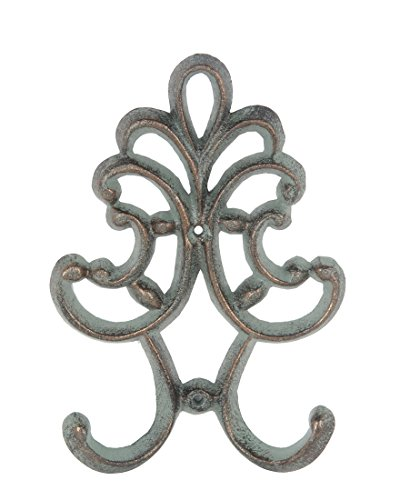 Metal Decorative Wall Hooks Verdigris Finish Cast Iron Decorative Double Wall Hook 7 1/2 Inches Tall 1 X 5 X 7.5 Inches Green - Decorative Metal Finishes
