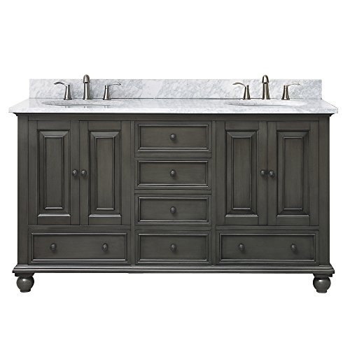 Avanity Thompson 61 in. Double Sink Vanity Combo in Charcoal Glaze finish with Carrera White Top