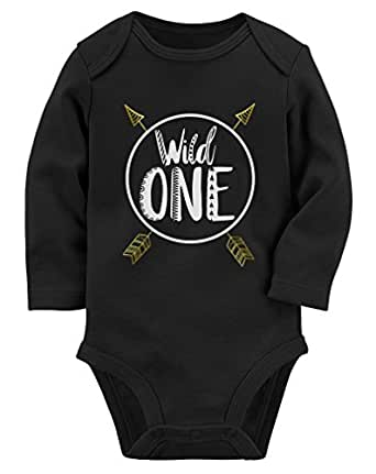 Tstars Wild One Baby Boys Girls 1st Birthday Gifts One Year Old Baby Long Sleeve Bodysuit 12M Black
