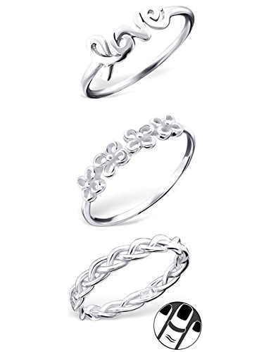 925 Sterling Silver set of 3 Braided, Love, Flowers Above Knuckle Ring Mid Finger Top by ICYROSE