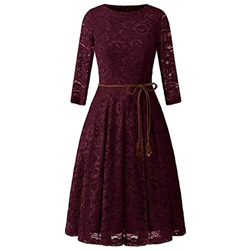 OOEOO Women's Vintage Dresses Lace Floral Boat Neck Long Sleeve Swing Dress A-Line Cocktail Party Prom (Red,2XL)