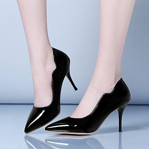 Pumps Women's Stiletto High MAIERNISI Kitten Black Heel Ponited Mid Toe JESSI Oqw5Hwz